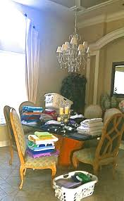 Laundry on Dining Room Table